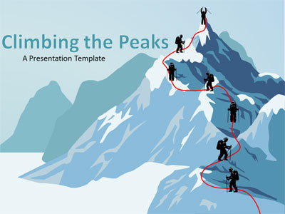 ID# 17642 - Climbing The Mountain - PowerPoint Template