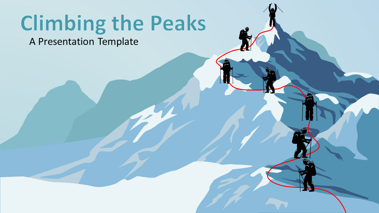 ID# 17643 - Climbing The Mountain - PowerPoint Template