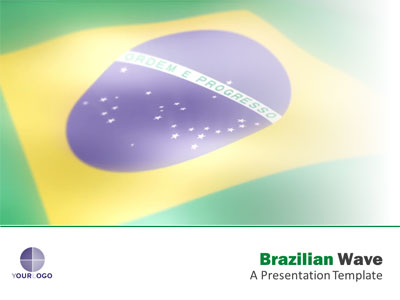 ID# 18295 - Brazilian Flag Wave - PowerPoint Template