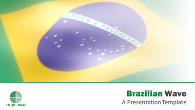 ID# 18296 - Brazilian Flag Wave - PowerPoint Template