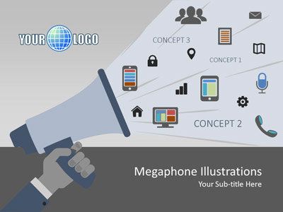 ID# 18557 - Megaphone Illustrations - PowerPoint Template