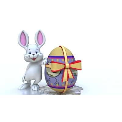 ID# 7909 - Easter Bunny With Giant Egg - Video Background