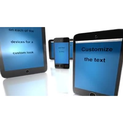 ID# 9756 - Wireless Devices Blue Text - Video Background