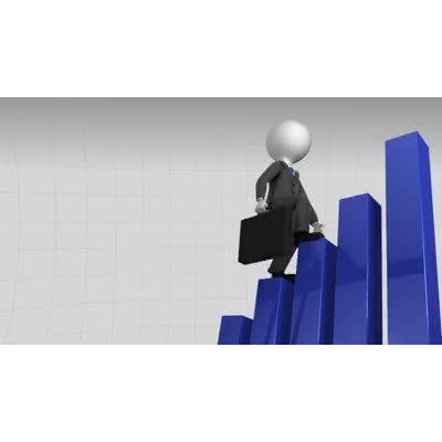 ID# 11871 - Business Figure Climbing Bar Graph - Video Background