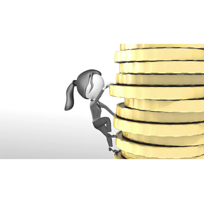 ID# 18671 - Woman Figure Climbing Gold Money Stack - Video Background