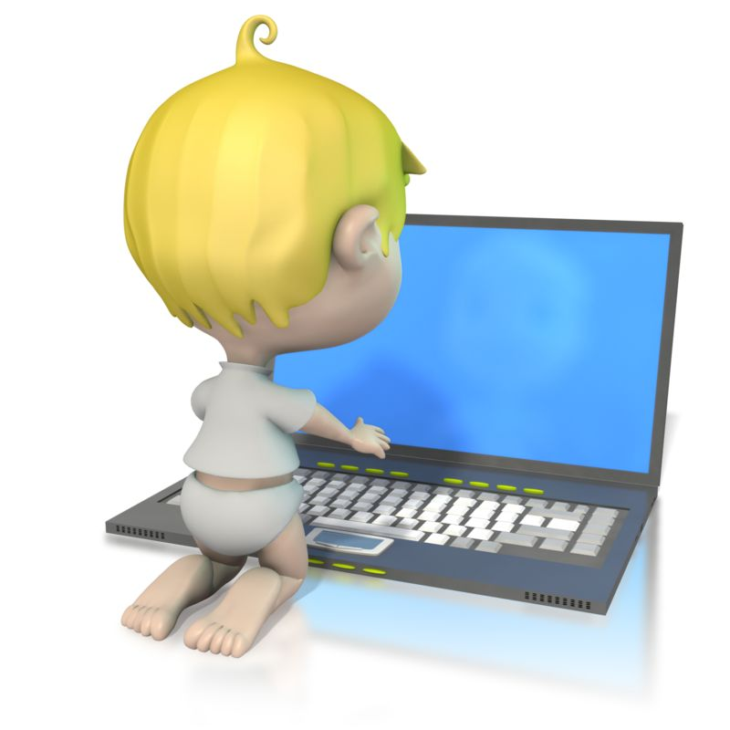 Clipart - Baby At Laptop