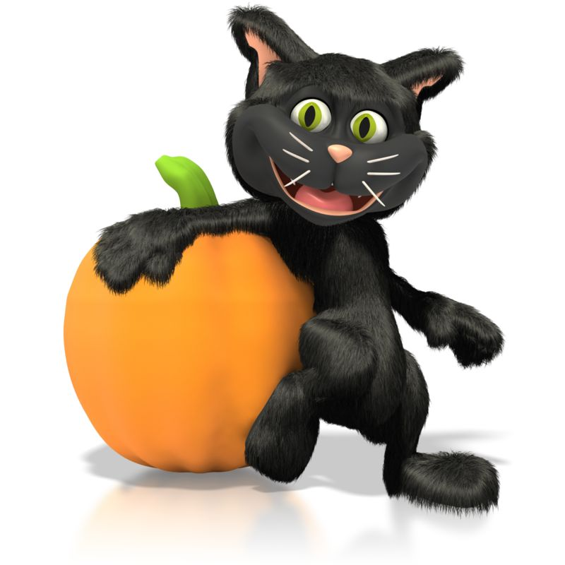 Clipart - Cat Leaning On Pumpkin