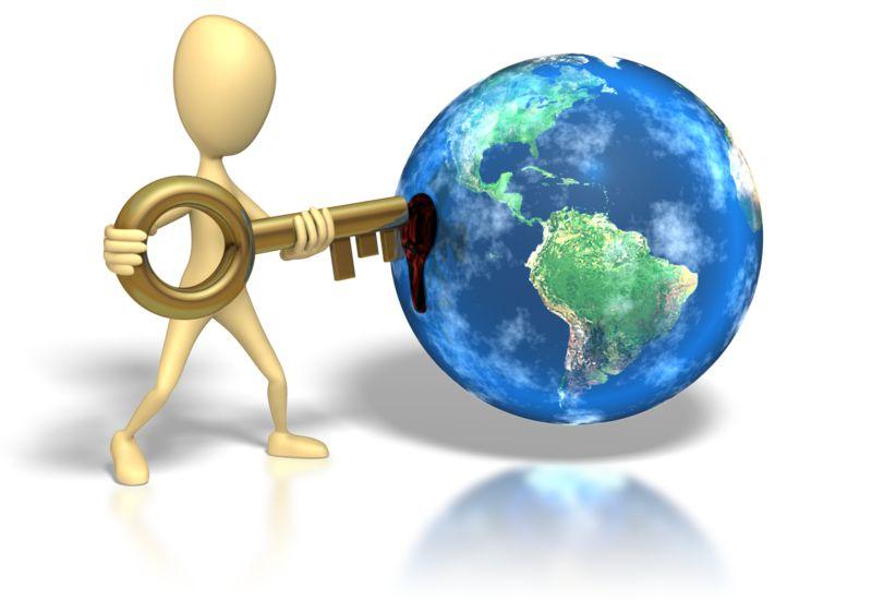 Clipart - Stick Figure Insert Key Earth Hole
