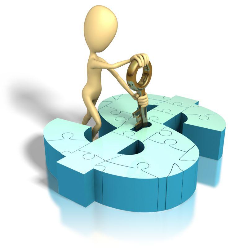 Clipart - Stick Figure Money Puzzle Key Lock