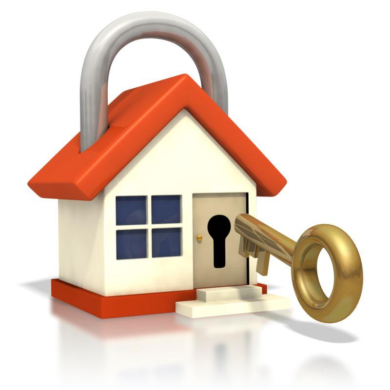 Clipart - House Lock Key Insert Door