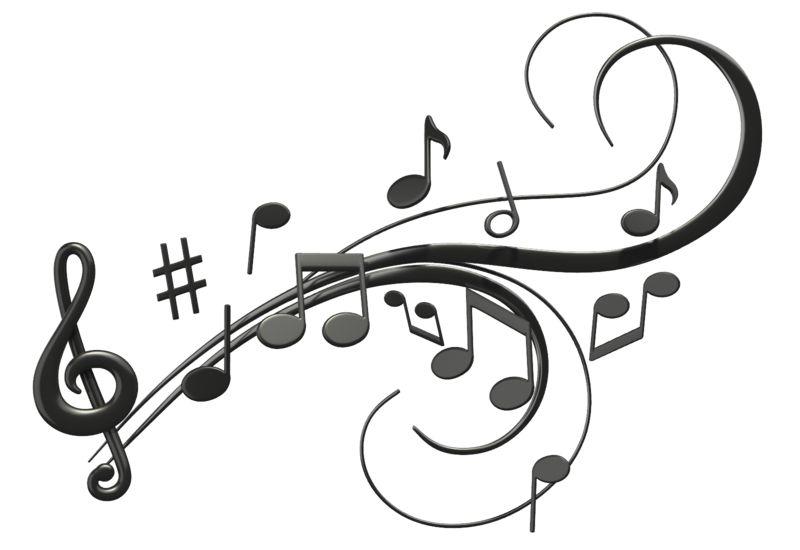 Clipart - Music Notes Swoosh