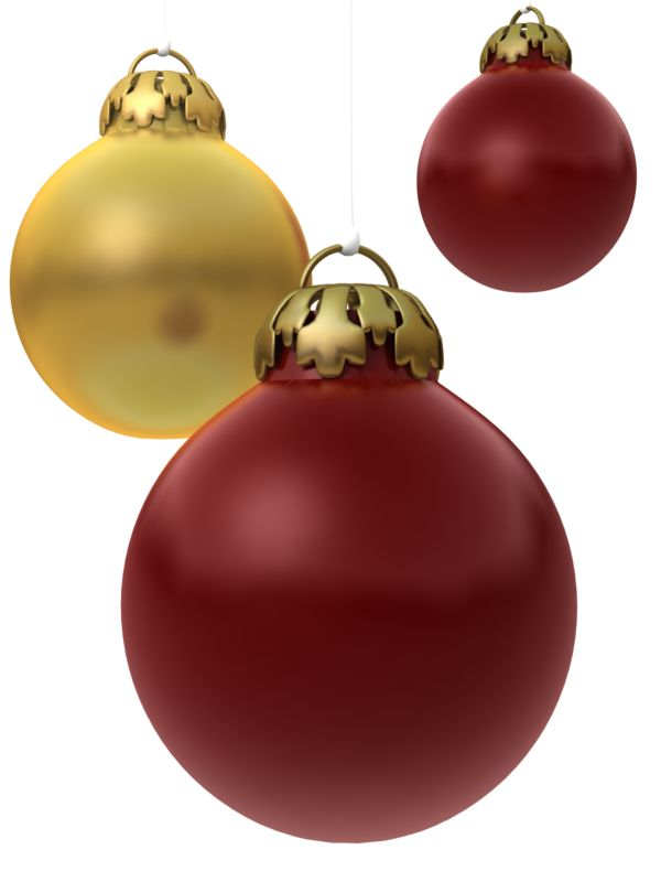 Clipart - Red Gold Ornaments