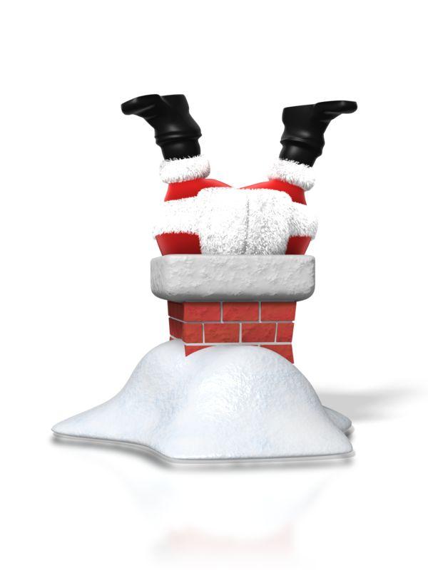 Clipart - Santa Upside Down Chimney