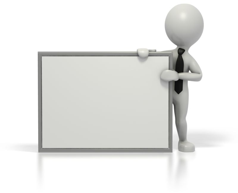 Clipart - Business Grey Stick Guy Blank Sign