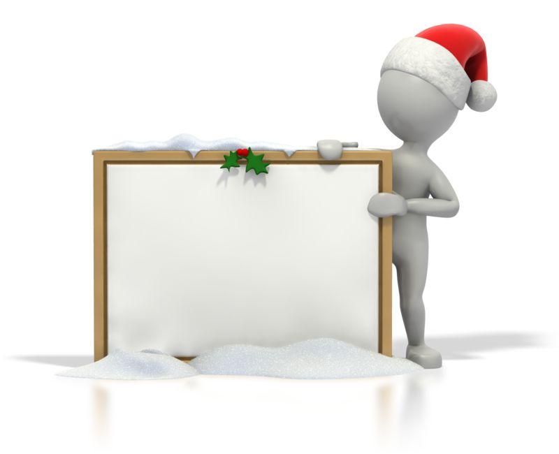 Clipart - Christmas Stick Guy Blank Snow Board