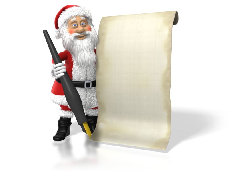 Clipart - Santa With His List