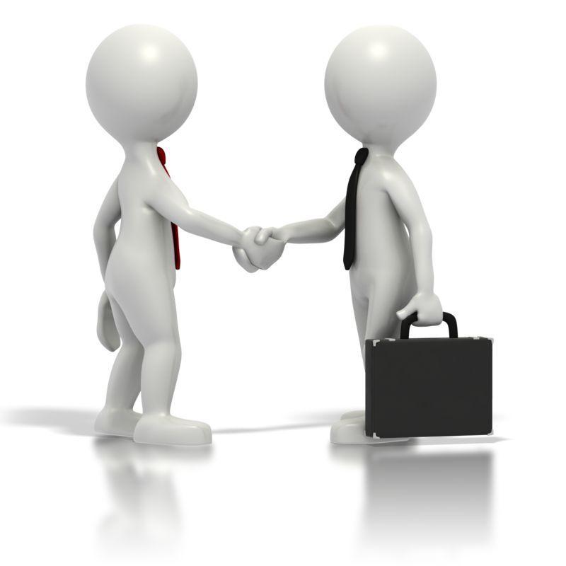 Clipart - Business Grey Stickmen Shake Hands