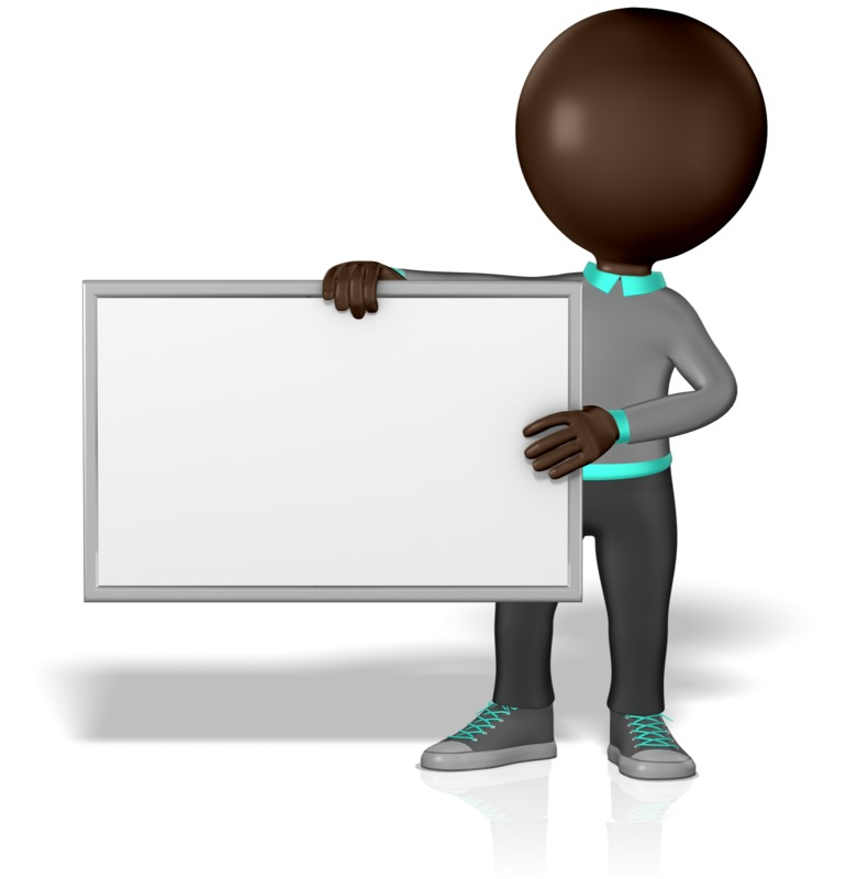 Clipart - Guy Figure with Blank Board