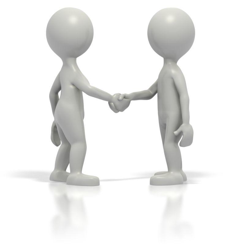 Clipart - Two Grey Stickmen Shake Hands