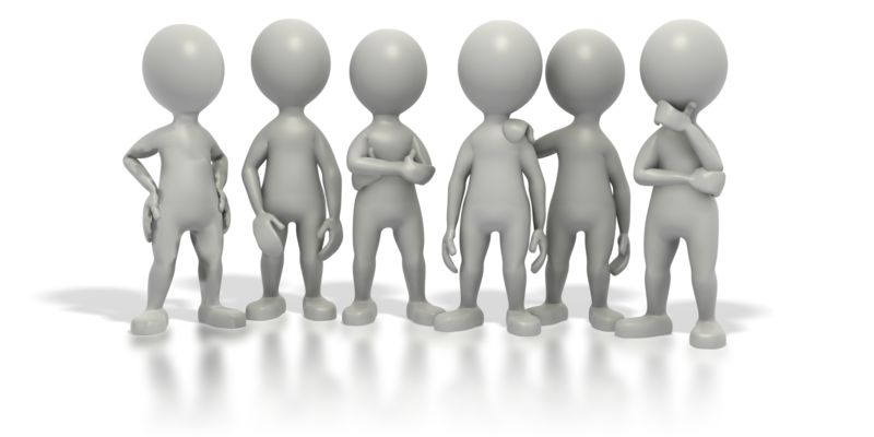 Clipart - Group Stick Figures Standing Together