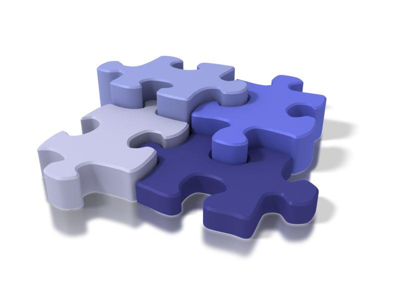 Clipart - Four Blue Puzzle Pieces