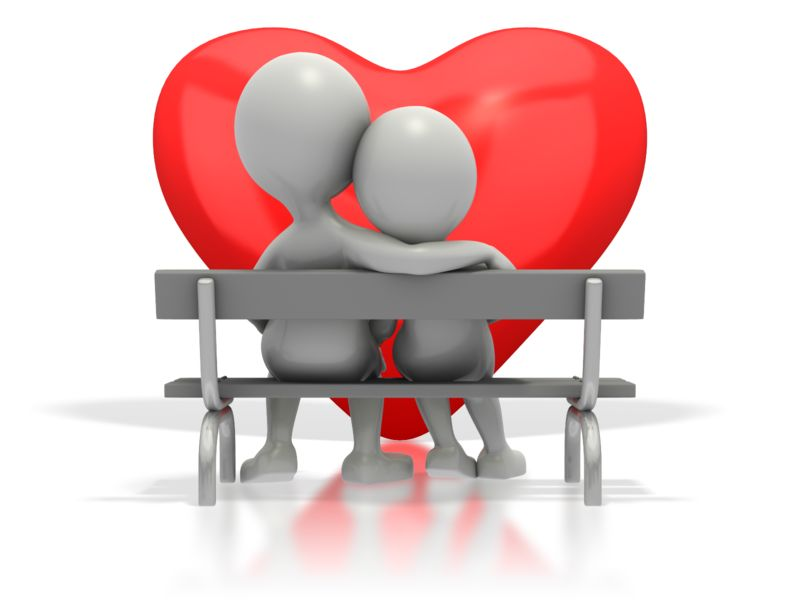 Clipart - Couple Sitting On Bench By Heart