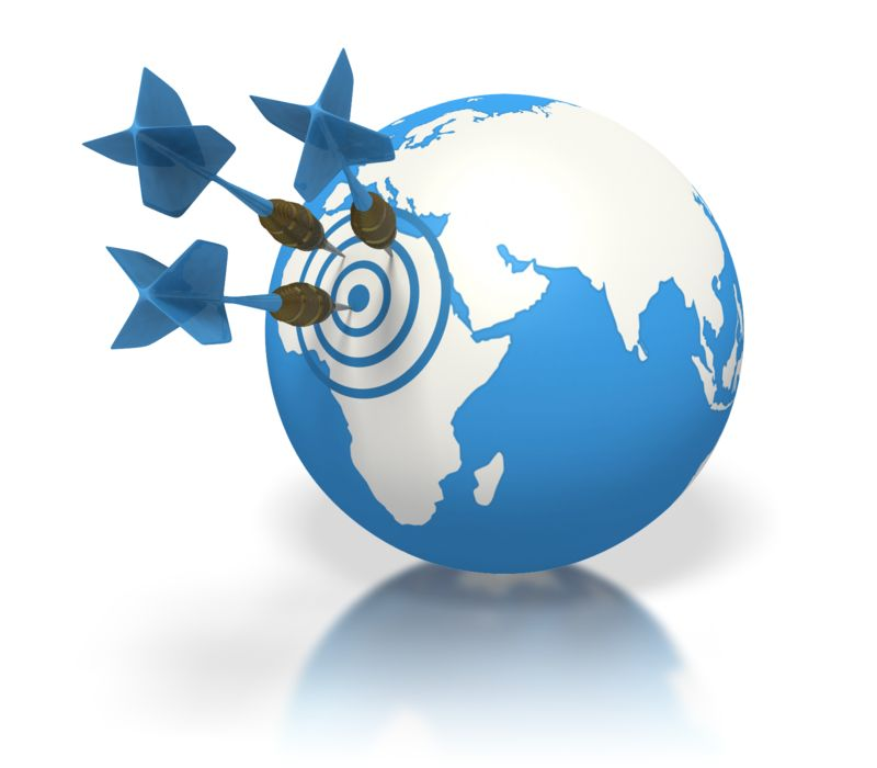 Clipart - Blue Earth Three Darts Target Africa