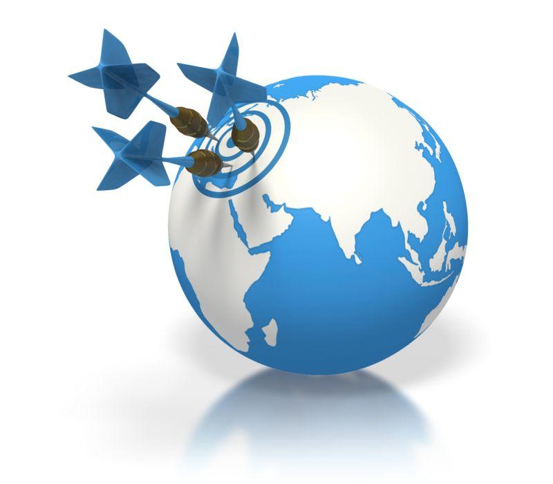Clipart - Blue Earth Three Darts Target Europe