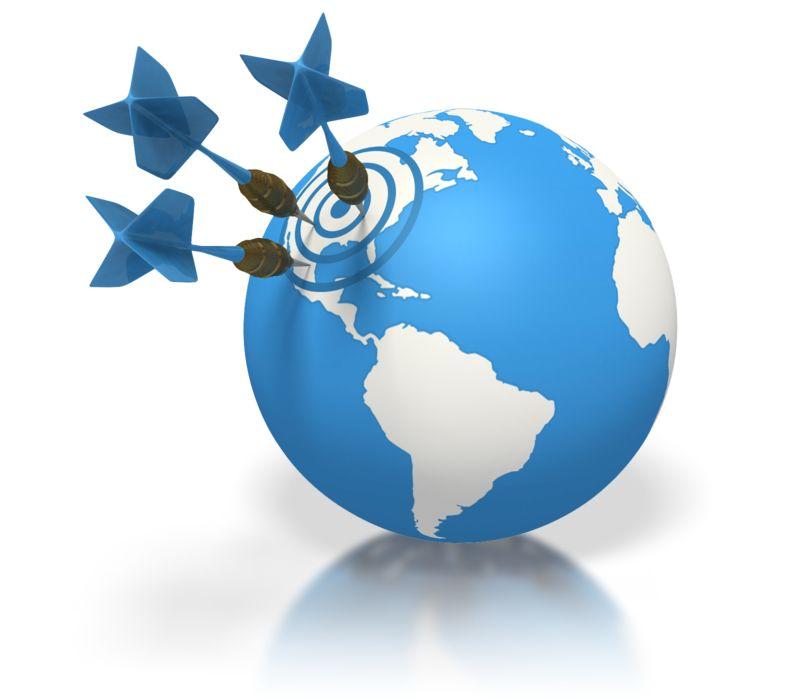 Clipart - Blue Earth Three Darts Target North Amer