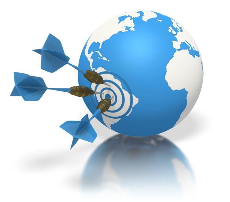 Clipart - Blue Earth Three Darts Target South Amer