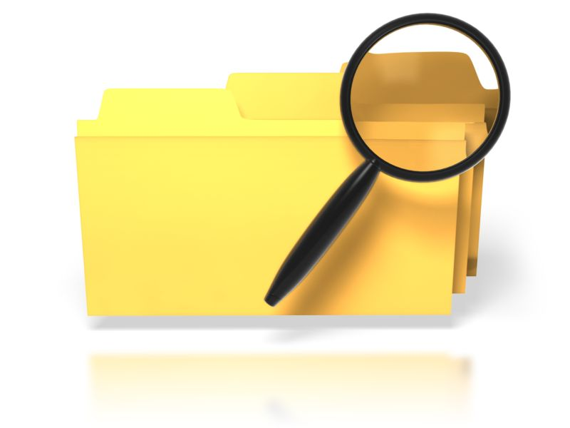 Clipart - Magnifying Glass Search Folders
