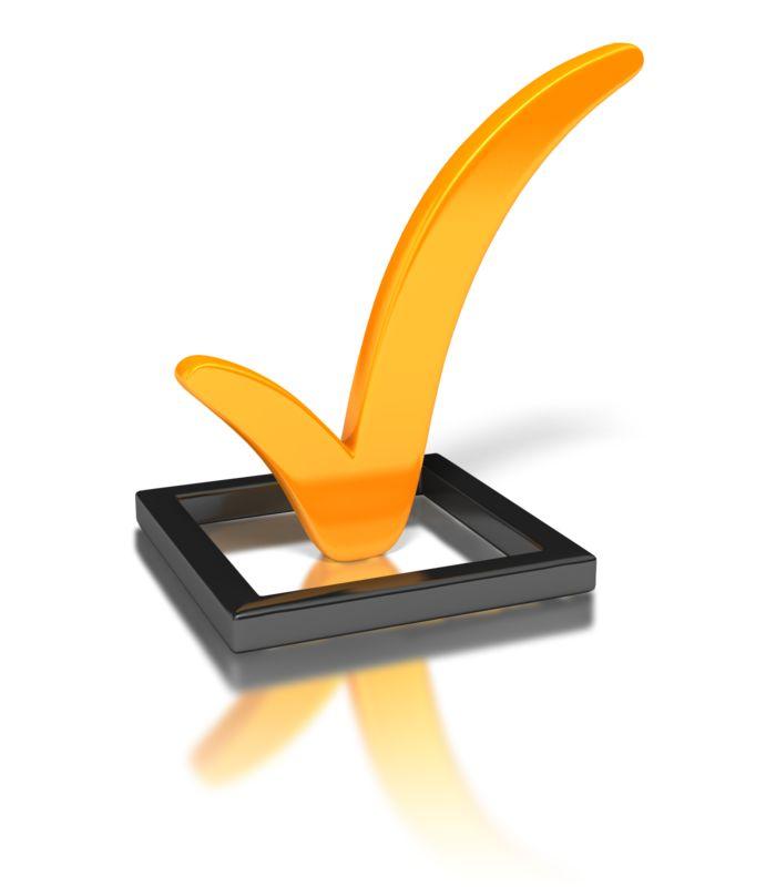 Clipart - Orange Check Mark In Box