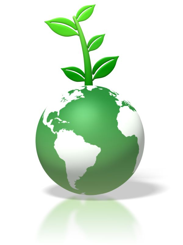 Clipart - Green Earth Leaves Growing On Top