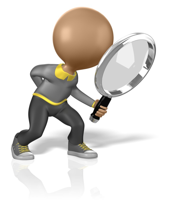 Clipart - Stick Figure Searching for Clues