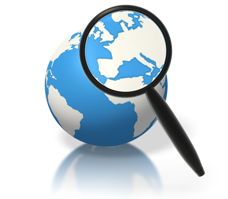 Clipart - Earth Magnifying Glass Europe