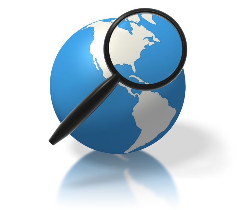 Clipart - Earth Magnifying Glass North America