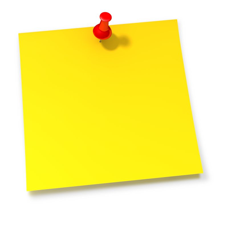 Clipart - Thumbtack In Yellow Sticky Note