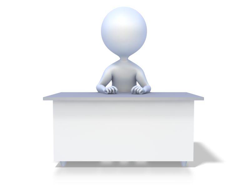 Clipart - Stick Figure At Desk