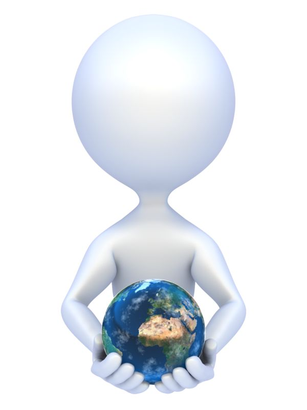 Clipart - Stick Figure Hold Earth