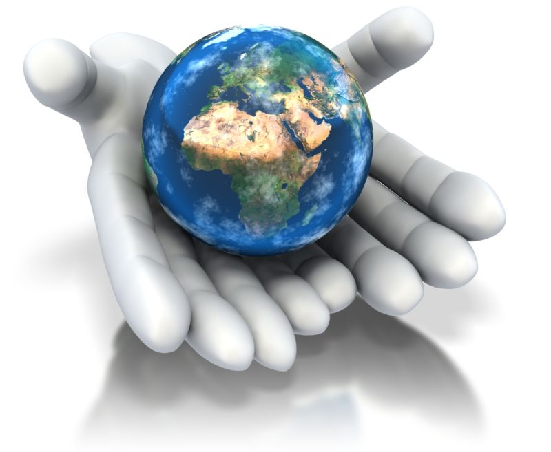 Clipart - World In Hands
