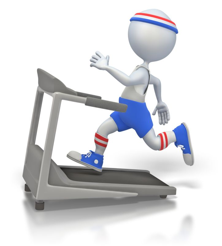 Clipart - Working Out on Treadmill