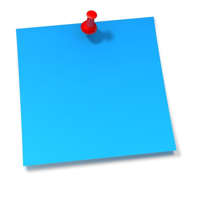 Clipart - Thumbtack In Blue Sticky Note