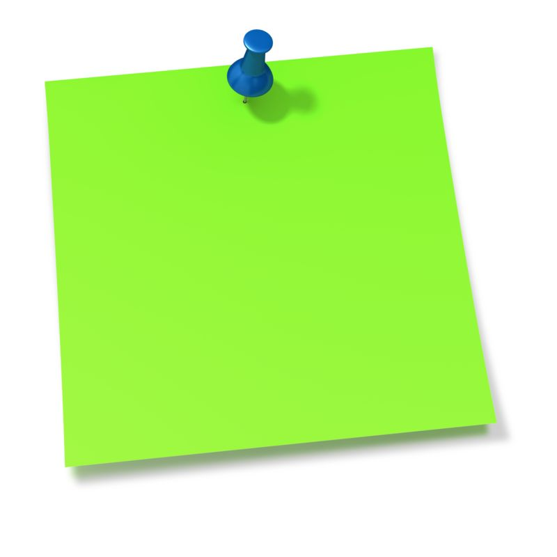 Clipart - Thumbtack In Green Sticky Note