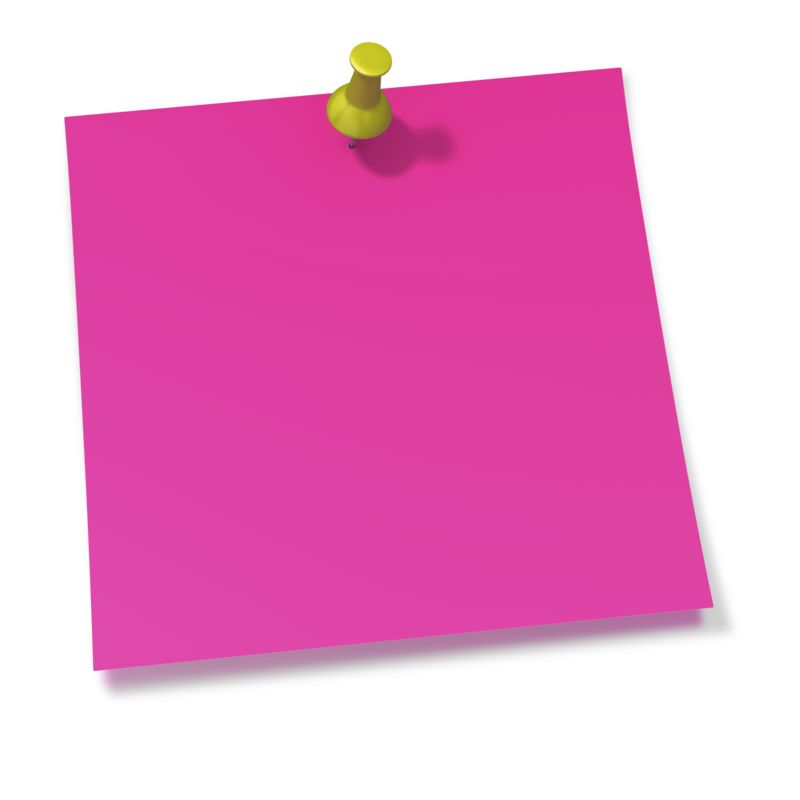 Clipart - Thumbtack In Pink Sticky Note
