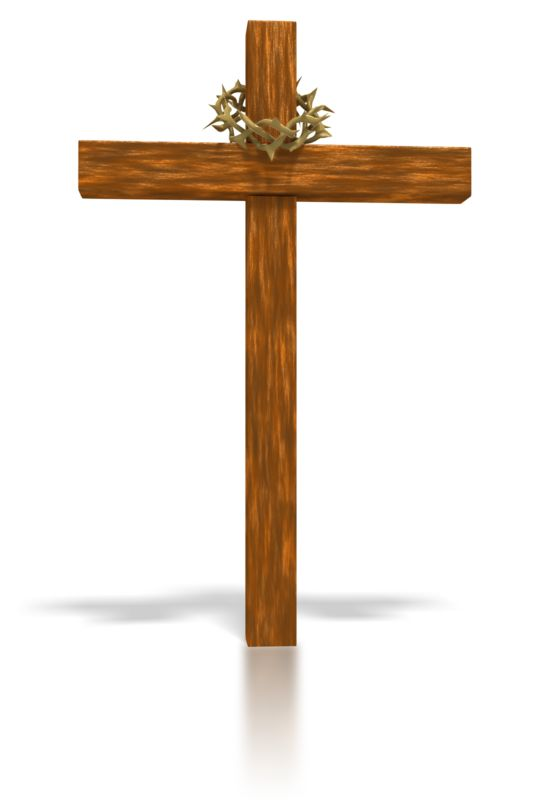 Clipart - Wooden Cross and crown