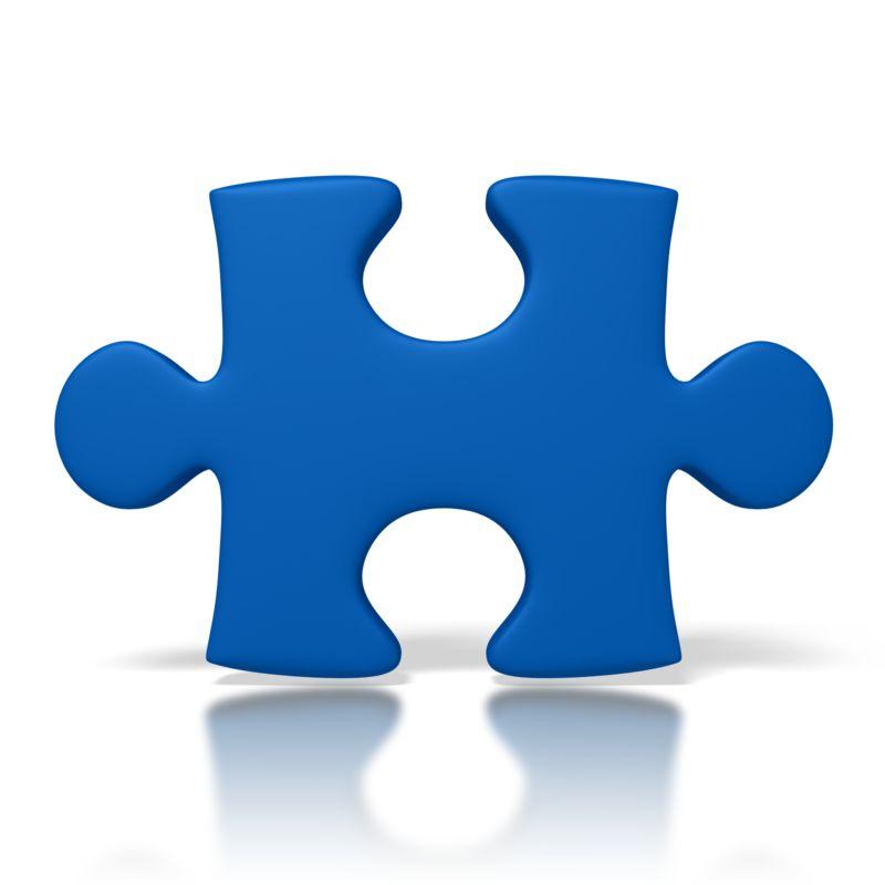 Clipart - Single Blue Puzzle Piece