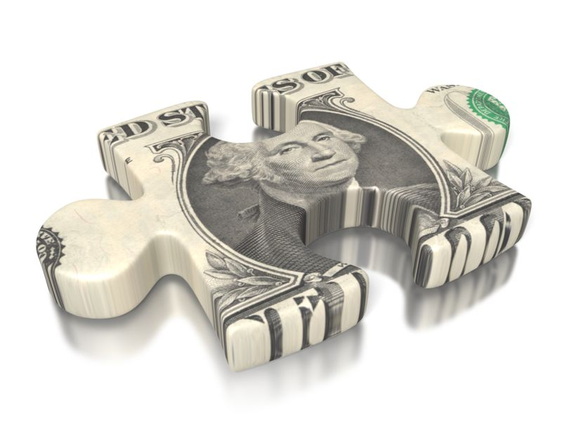 Clipart - One Dollar Bill Puzzle Piece