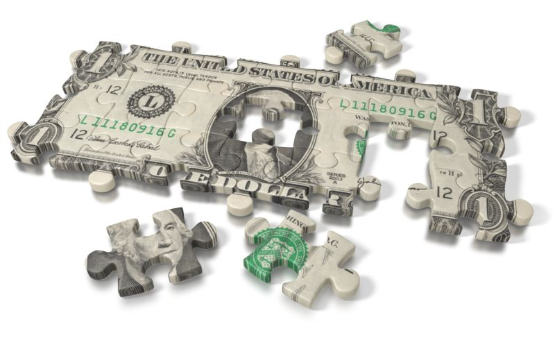 Clipart - One Dollar Bill Puzzle