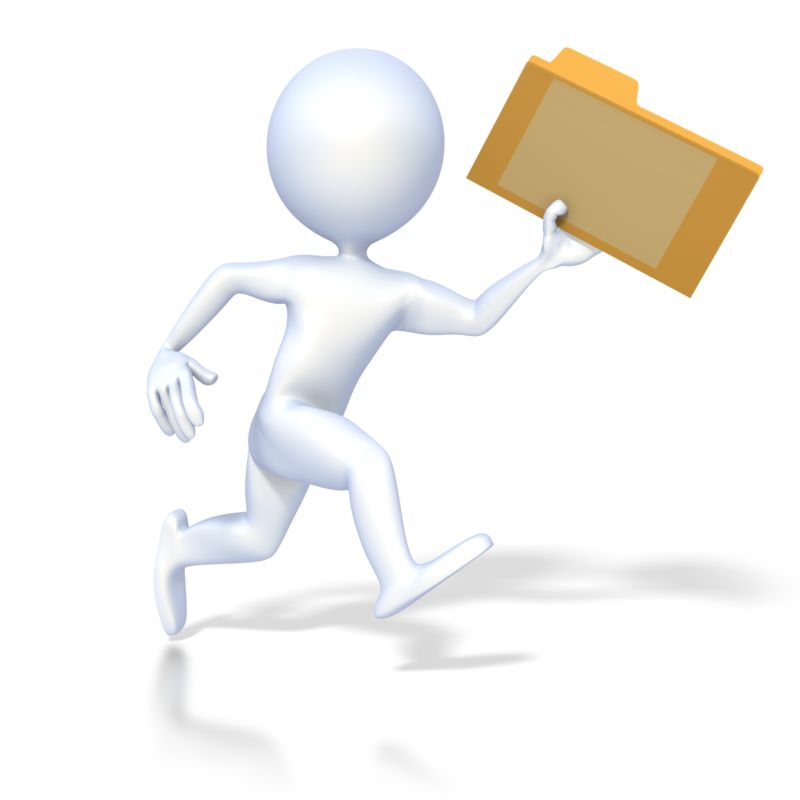Clipart - 3D Figure Running with File Folder