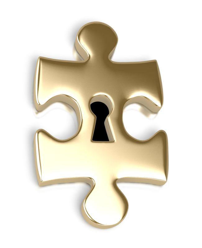 Clipart - Gold Puzzle Piece Key Hole